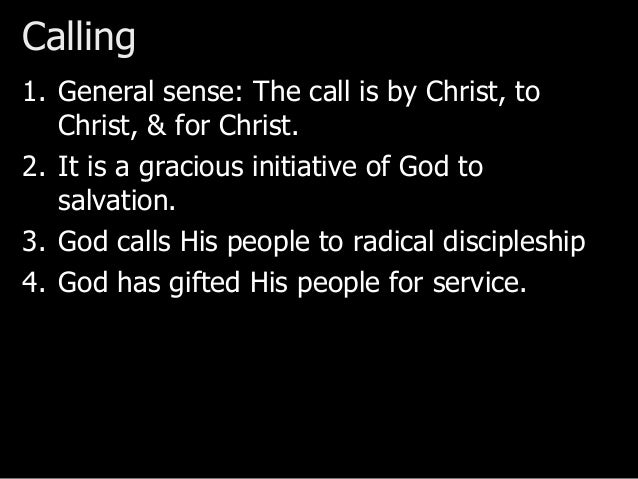 Calling & Creation: Structure God created everything, including the proper purpose for everything. • Relationship between ...