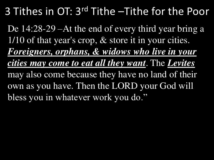 3 Tithes in OT: 3rd Tithe –Tithe for the Poor<br />De 14:28-29 –At the end of every third year bring a 1/10 of that year's...