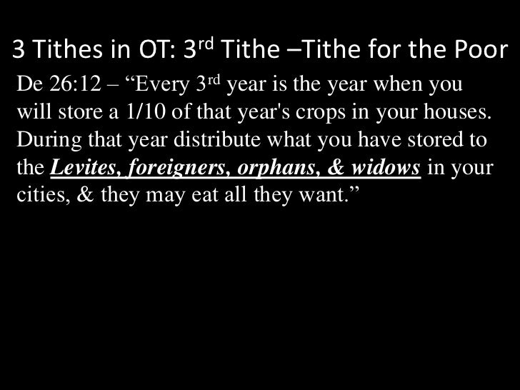 """3 Tithes in OT: 3rd Tithe –Tithe for the Poor<br />De 26:12 – """"Every 3rd year is the year when you will store a 1/10 of th..."""