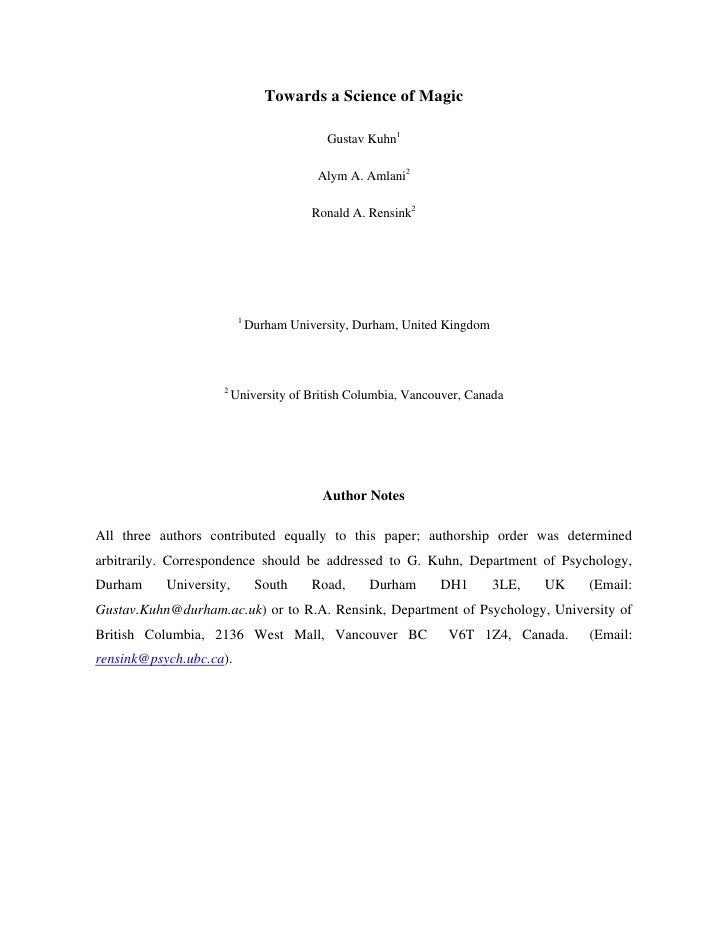 Towards a Science of Magic                                             Gustav Kuhn1                                       ...