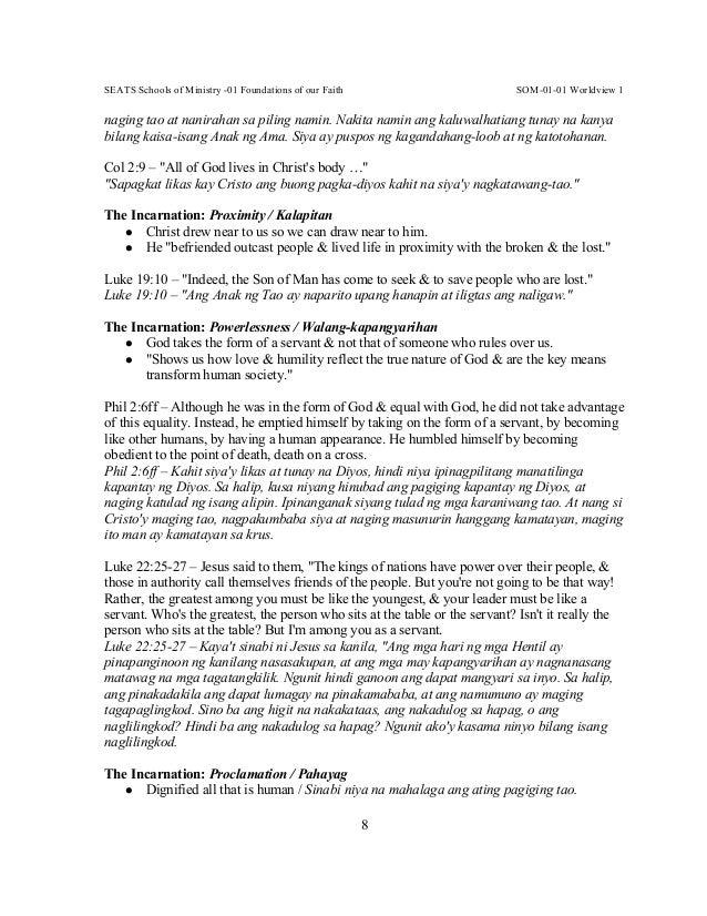 SEATS Schools of Ministry -01 Foundations of our Faith SOM-01-01 Worldview 1 8 naging tao at nanirahan sa piling namin. Na...