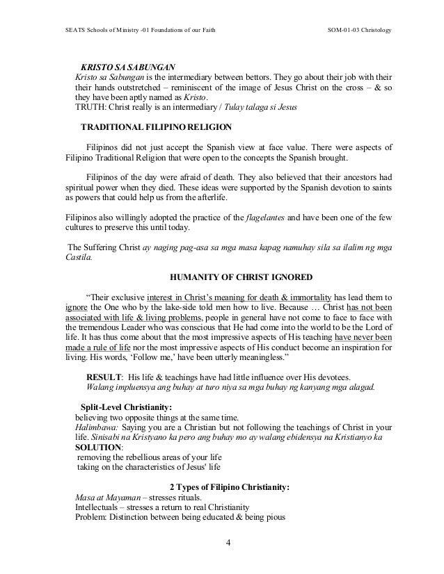SEATS Schools of Ministry -01 Foundations of our Faith SOM-01-03 Christology 4 KRISTO SA SABUNGAN Kristo sa Sabungan is th...