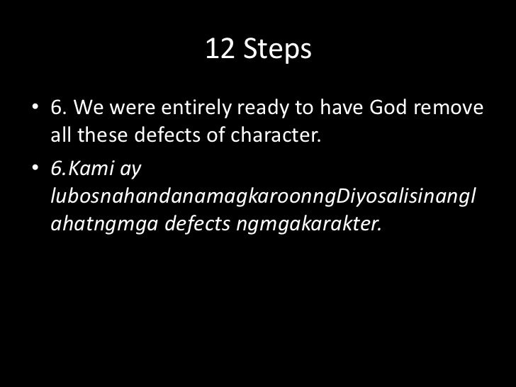 12 Steps<br />5. We admitted to God, to ourselves & to another human being the exact nature of our wrongs.<br />5. Inamins...