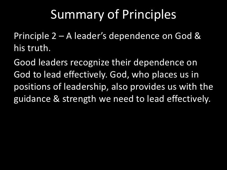 Counterfeit PrinciplesGod's Principles<br />A good leader is like a king who exercises dominion & authority over foll...