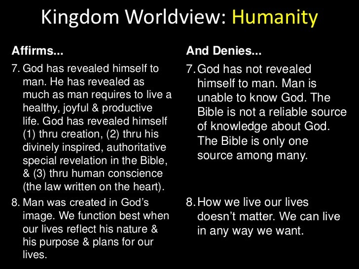 Kingdom Worldview: Humanity<br />Affirms...<br />And Denies...<br />God created man (male & female).<br />Man is the only ...