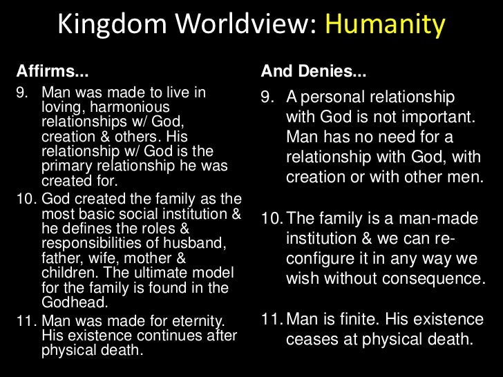 Kingdom Worldview: Humanity<br />Affirms...<br />And Denies...<br />God created man male & female. Both are created with u...