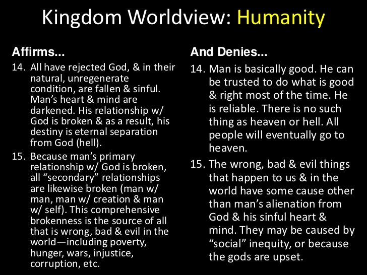Kingdom Worldview: Humanity<br />Affirms...<br />And Denies...<br />Man was made to live in loving, harmonious relationshi...