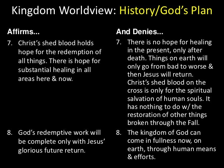 Kingdom Worldview: History/God's Plan<br />Affirms...<br />And Denies...<br />God works through the Church as his primary ...