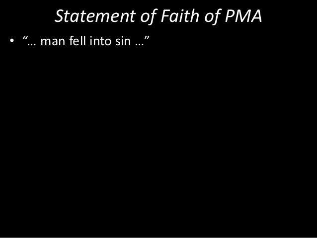 """Statement of Faith of PMA • """"… man fell into sin …"""""""