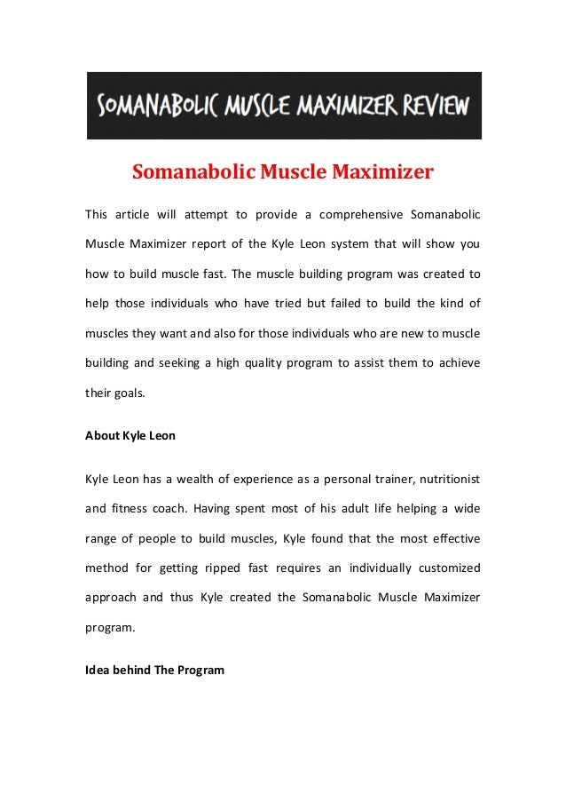 Somanabolic Muscle MaximizerThis article will attempt to provide a comprehensive SomanabolicMuscle Maximizer report of the...