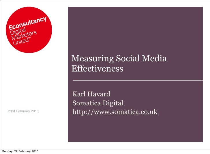 Measuring Social Media                            Effectiveness                             Karl Havard                   ...