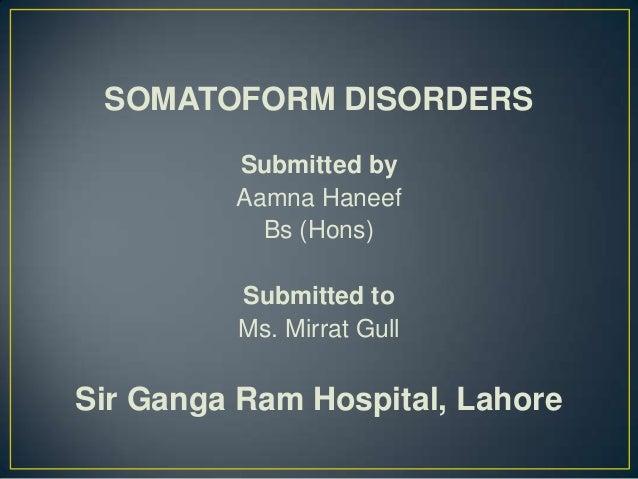 Somatoform Disorders - Columbia University