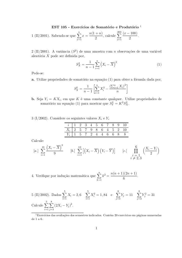 1                   EST 105 - Exerc´                                  ıcios de Somat´rio e Produt´rio                     ...