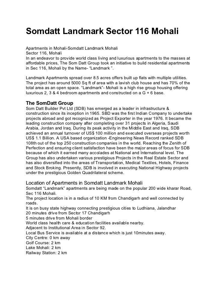 Somdatt Landmark Sector 116 MohaliApartments in Mohali-Somdatt Landmark MohaliSector 116, MohaliIn an endeavor to provide ...