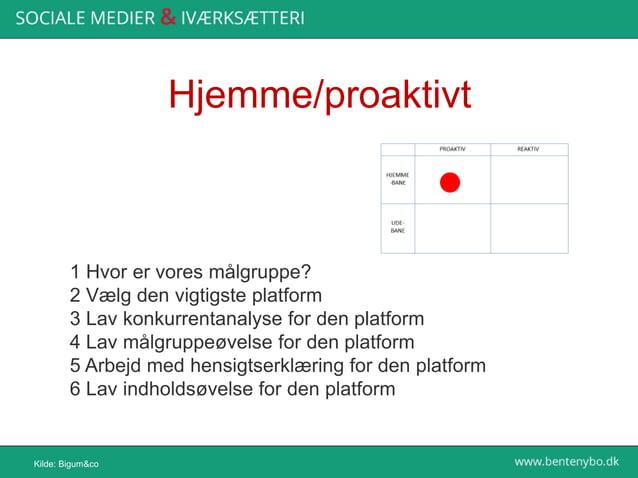 Udebane/reaktivt Kilde: Bigum&co 11 Lav søgning på den platform 12 Kortlæg samtaler 13 Kortlæg evt. nøglepersoner fra de s...