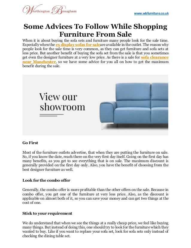 Some Advices To Follow While Shopping Furniture From Sale