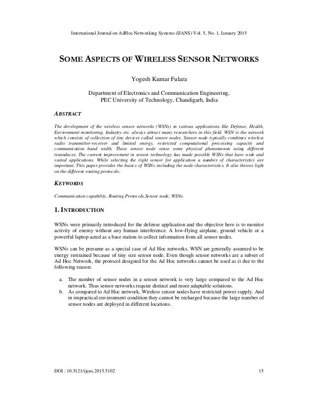 International Journal on AdHoc Networking Systems (IJANS) Vol. 5, No. 1, January 2015 DOI : 10.5121/ijans.2015.5102 15 SOM...