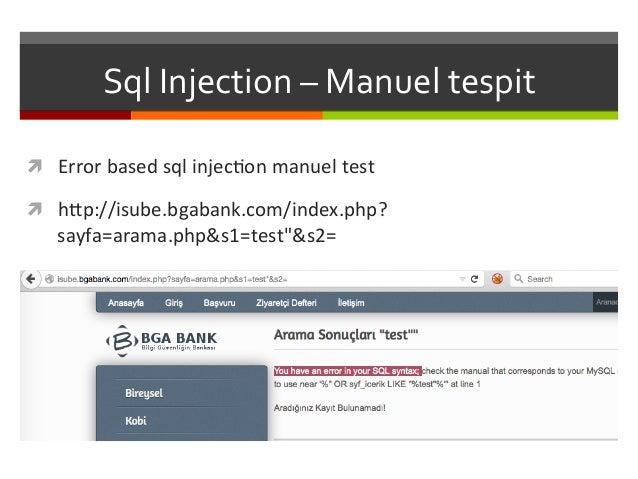 Sql  Injection  –  Manuel  tespit   ì Error  based  sql  injecKon  manuel  test   ì h<p://isube....