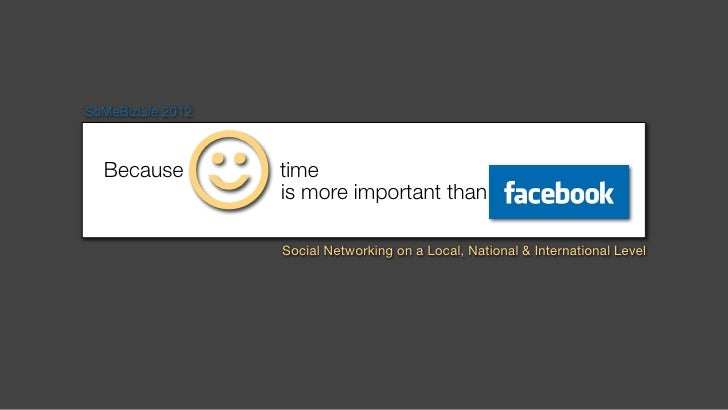 ☺SoMeBizLife 2012  Because          time                   is more important than                   Social Networking on a...