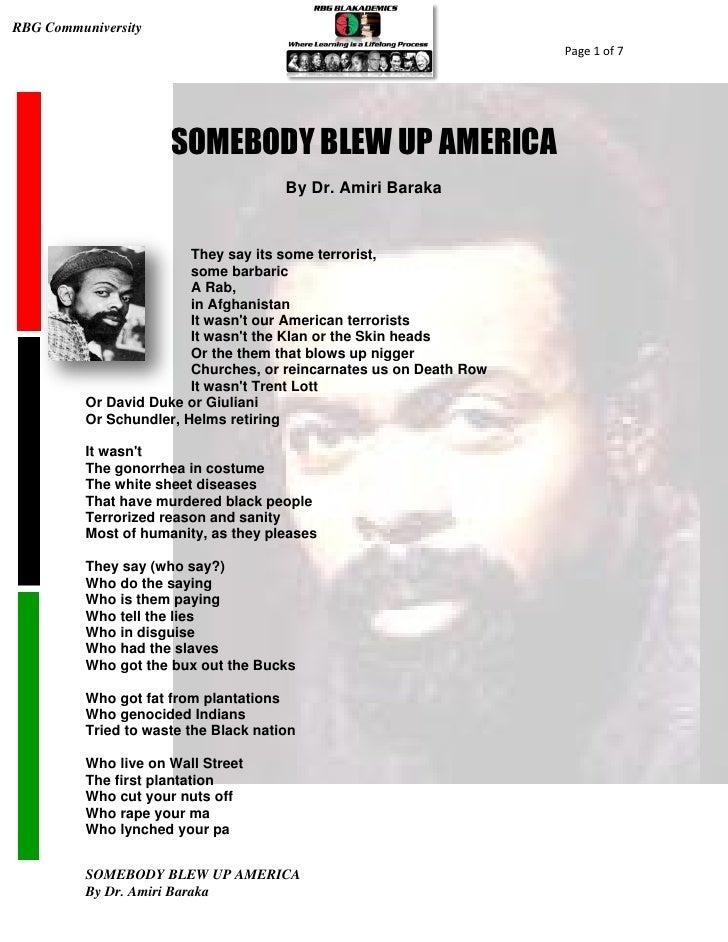Analysis of Somebody blew up America by Amiri Baraka ...
