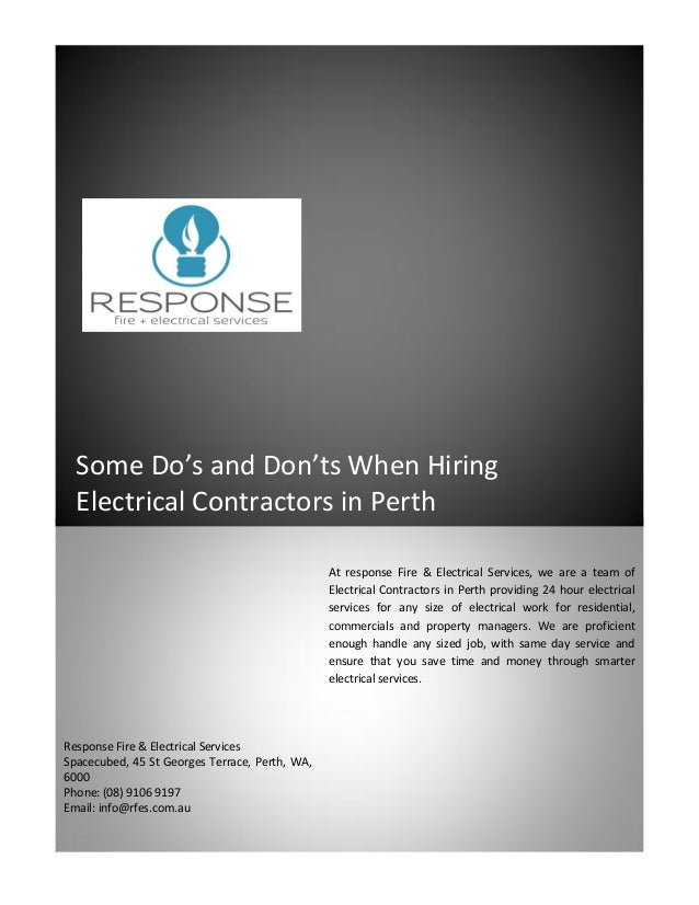Some Do S And Don Ts When Hiring Electrical Contractors In