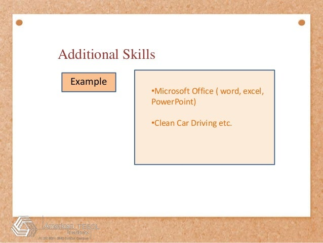 Resume Tips Additional Skills. Additional Skills For A Resume Free ...