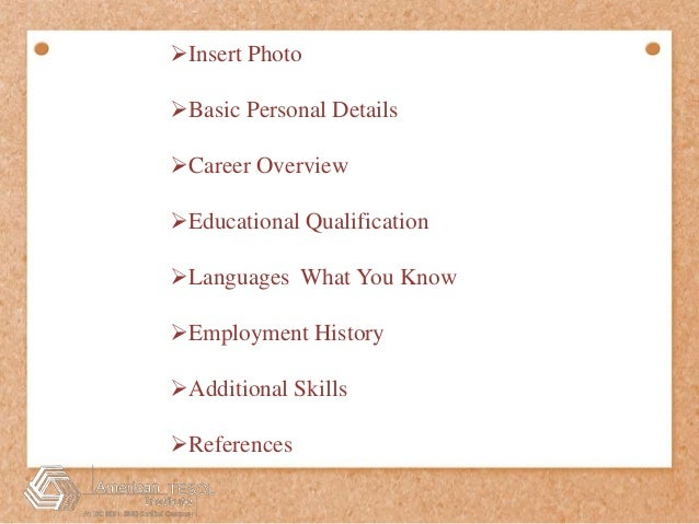 Some Easy Steps To Write TESOL Resume; 2.  Career Overview Resume