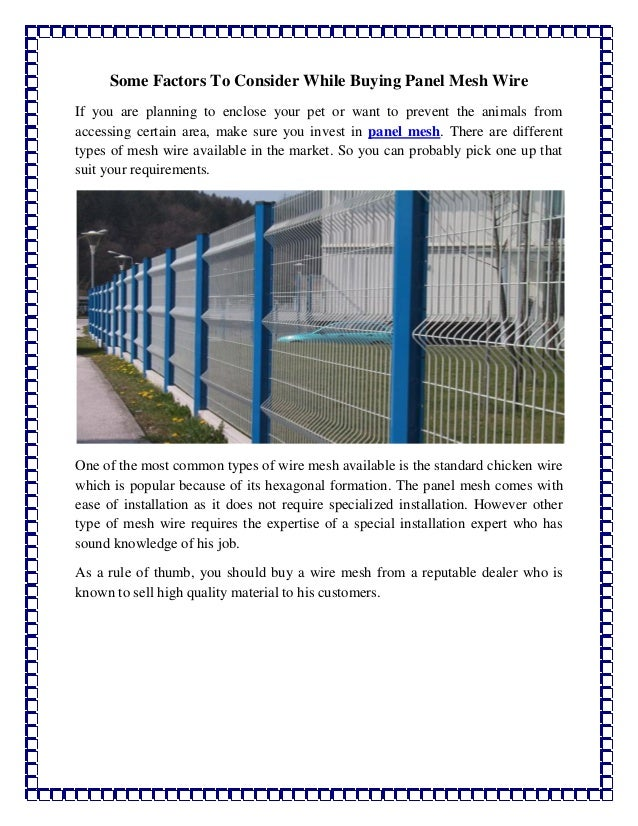 Some factors to consider while buying panel mesh wire