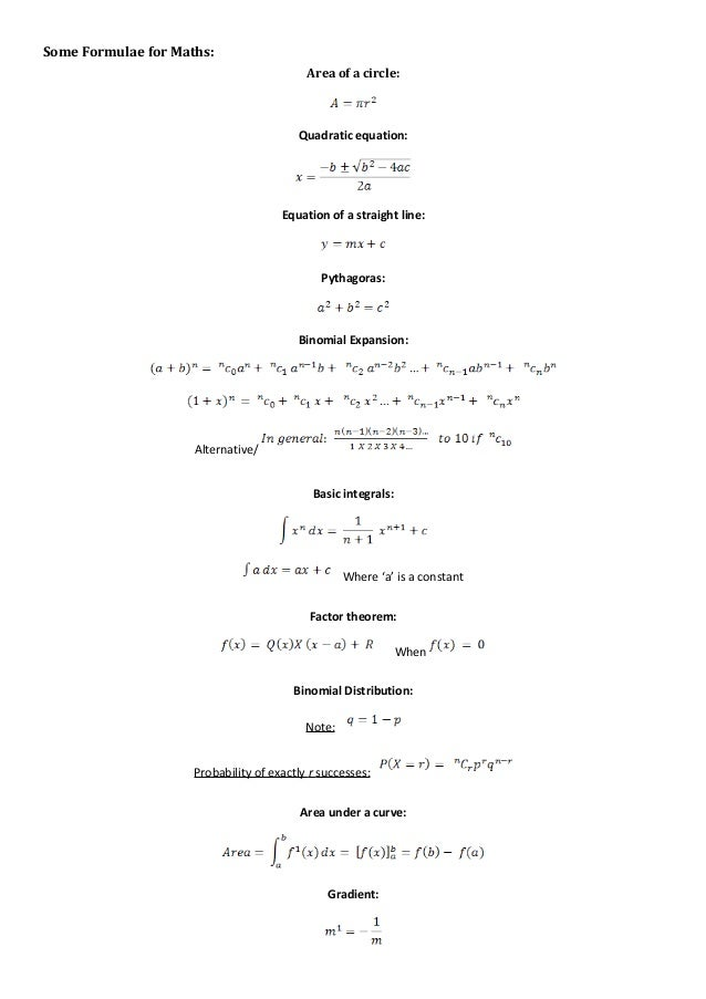 Some Formulae For Additional Mathematics