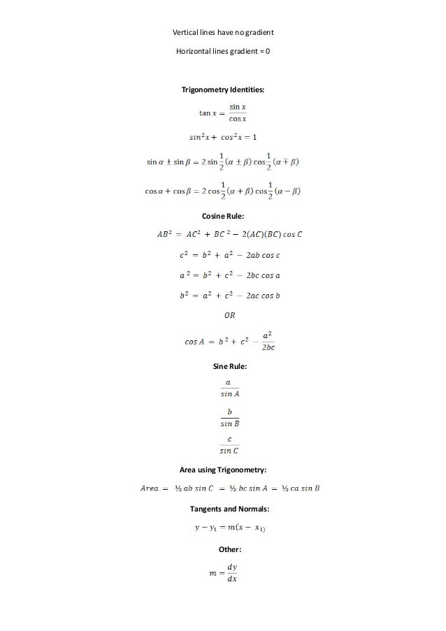 Basic physics formula sheet
