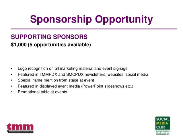 Sponsorship Opportunity SUPPORTING SPONSORS $1,000 (5 opportunities available) • Logo recognition on all marketing materia...