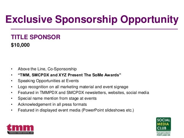 """Exclusive Sponsorship Opportunity TITLE SPONSOR $10,000 • Above the Line, Co-Sponsorship • """"TMM, SMCPDX and XYZ Present Th..."""