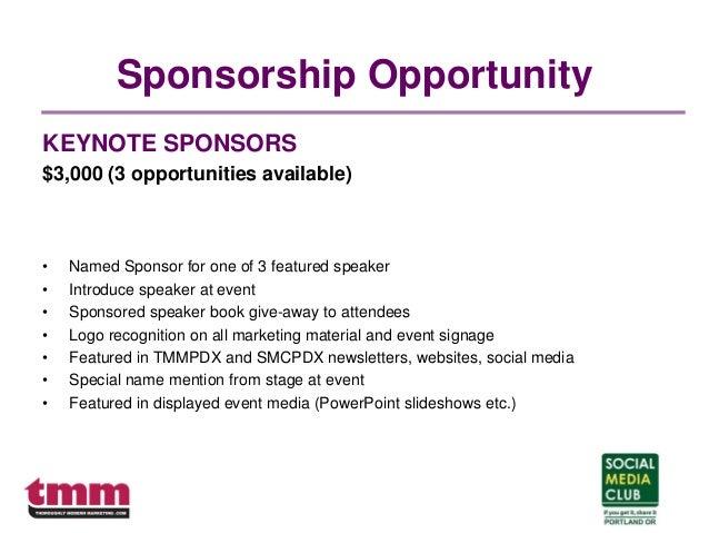 Sponsorship Opportunity KEYNOTE SPONSORS $3,000 (3 opportunities available) • Named Sponsor for one of 3 featured speaker ...