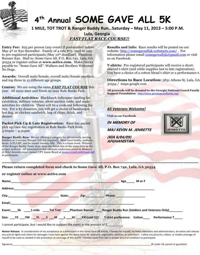 """4th Annual                     """"Some Gave All"""" 5K Road Race                                       In Memory of Major Kevin..."""