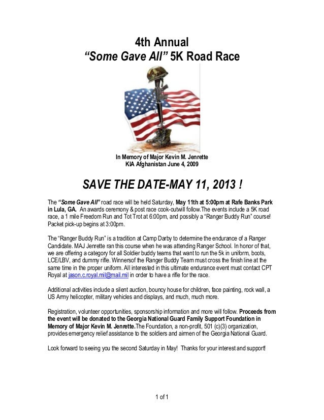 """4th Annual                """"Some Gave All"""" 5K Road Race                               In Memory of Major Kevin M. Jenrette ..."""