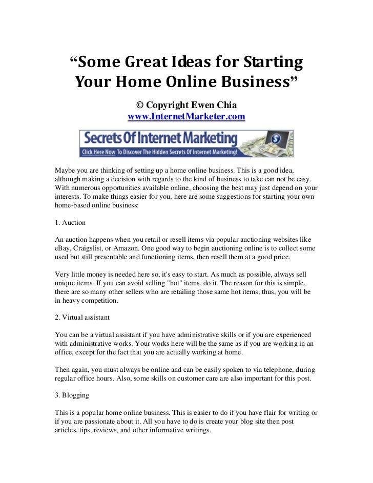 some great ideas for starting your home online business