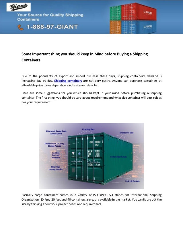 Some Important thing you should keep in Mind before Buying a ShippingContainersDue to the popularity of export and import ...