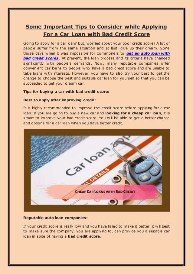 Some Important Tips To Consider While Applying For A Car Loan With Ba