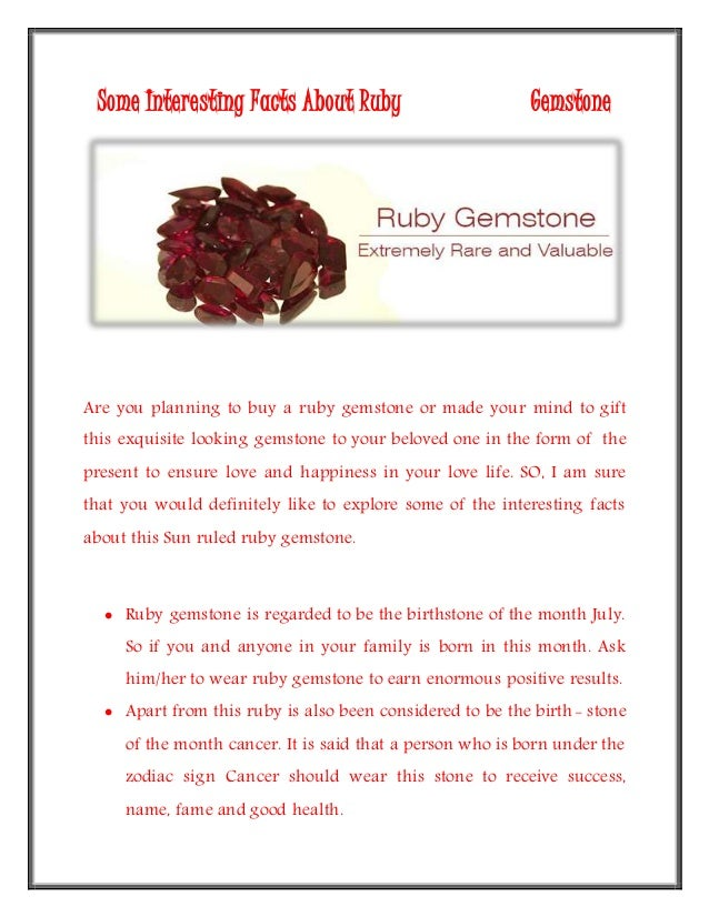 some interesting facts about ruby gemstone