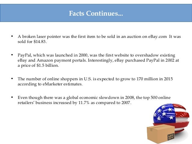 Facts Continues...  A broken laser pointer was the first item to be sold in an auction on eBay.com It was sold for $14.83...