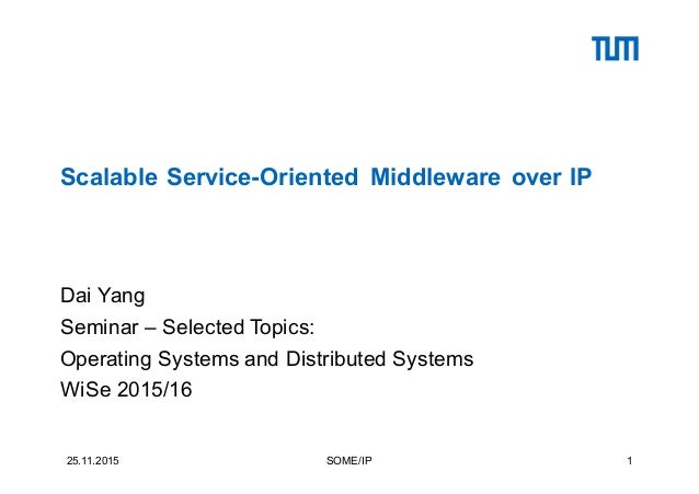 Scalable Service-Oriented Middleware over IP Dai Yang Seminar – Selected Topics: Operating Systems and Distributed Systems...