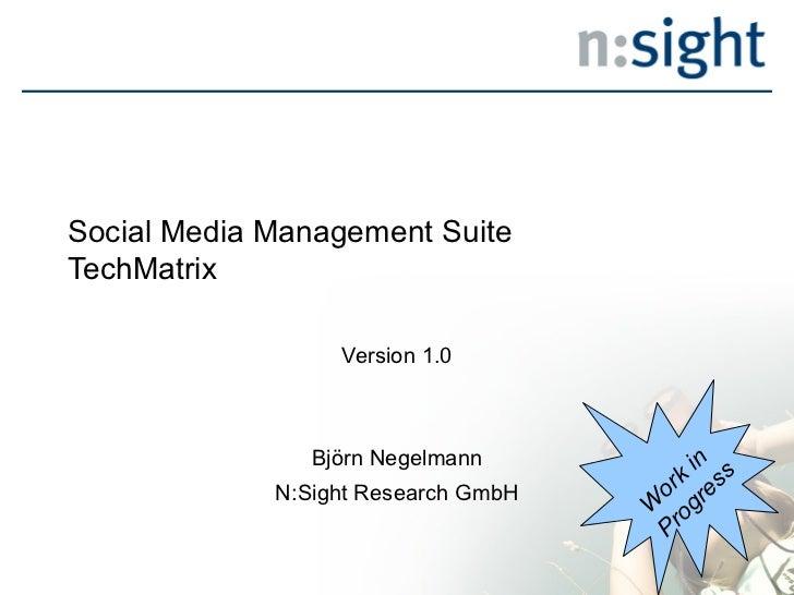 Social Media Management SuiteTechMatrix                  Version 1.0                Björn Negelmann          in           ...