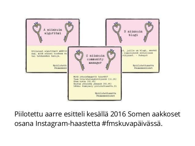 Piilotettu aarre esitteli kesällä 2016 Somen aakkoset osana Instagram-haastetta #fmskuvapäivässä.