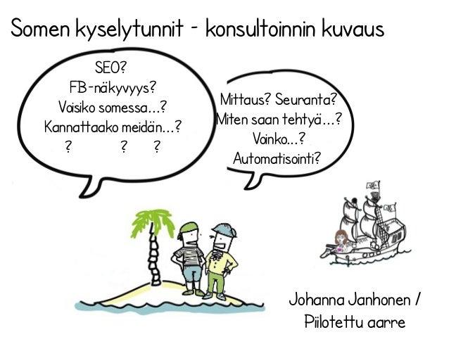 Somen kyselytunnit – konsultoinnin kuvaus Johanna Janhonen / Piilotettu aarre SEO? FB-näkyvyys? Voisiko somessa...? Kannat...