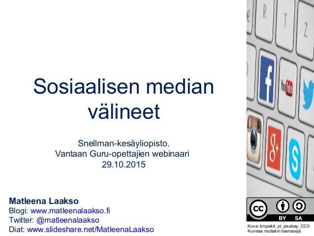 Matleena Laakso Blogi: www.matleenalaakso.fi Twitter: @matleenalaakso Diat: www.slideshare.net/MatleenaLaakso Sosiaalisen ...