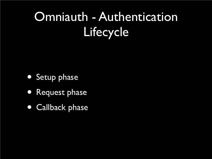 Omniauth - Authentication        Lifecycle• Setup phase• Request phase• Callback phase