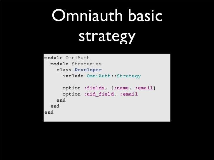 Omniauth basic    strategymodule OmniAuth  module Strategies    class Developer      include OmniAuth::Strategy      optio...