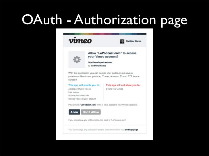 OAuth - Authorization page
