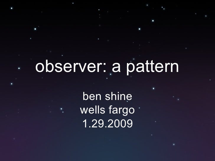 observer: a pattern ben shine wells fargo 1.29.2009