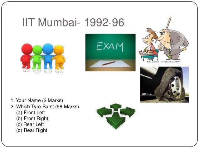 IIT Mumbai- 1992-96  1. Your Name (2 Marks) 2. Which Tyre Burst (98 Marks) (a) Front Left (b) Front Right (c) Rear Left (d...